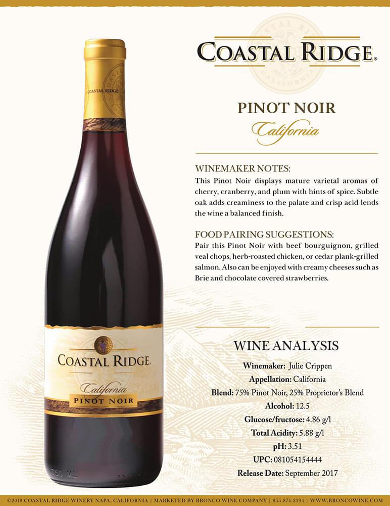 Coastal Ridge Pinot Noir Tech Sheet
