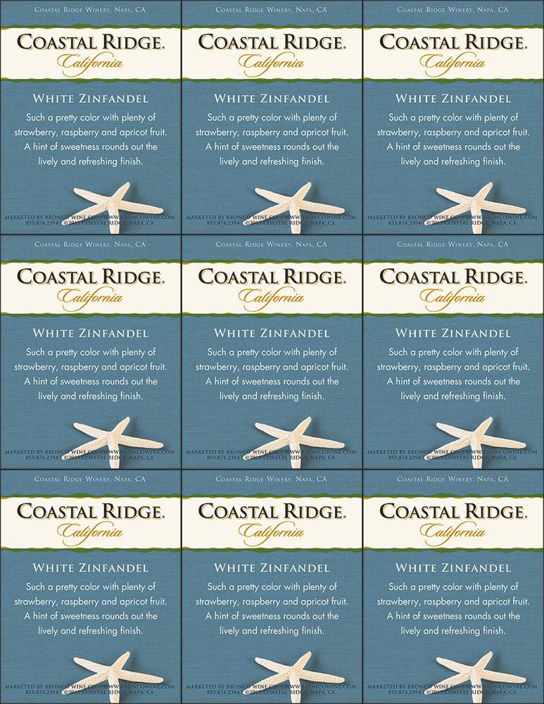 Coastal Ridge White Zinfandel Shelf Talker