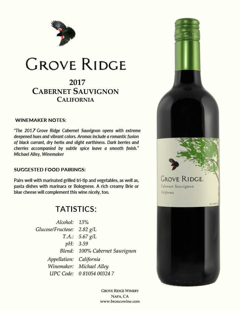 Grove Ridge Cabernet Sauvignon Tech Sheet