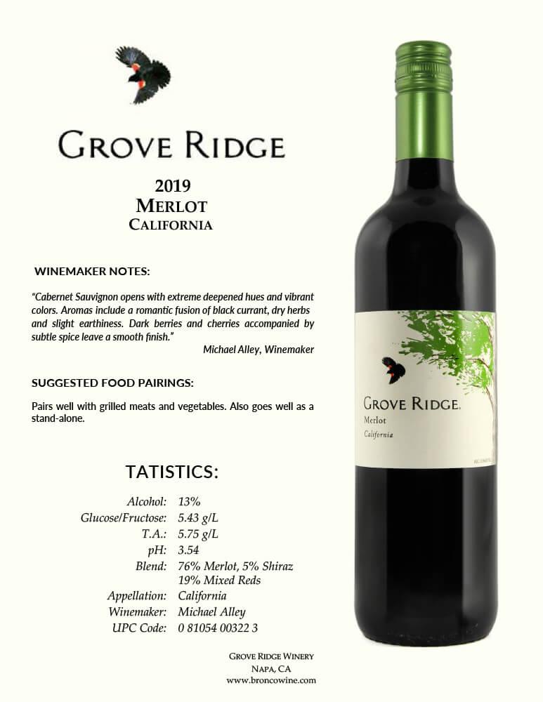 Grove Ridge Merlot Tech Sheet