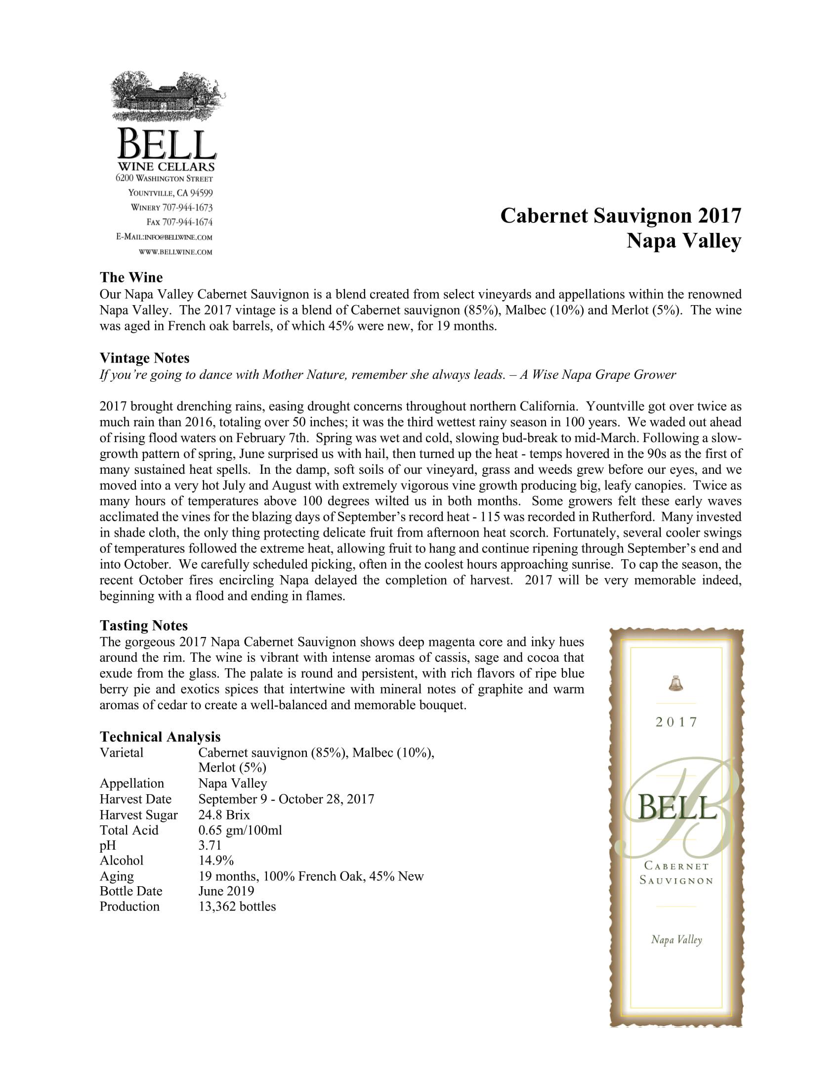 Bell Wine Cellars Cabernet Sauvignon Tech Sheet