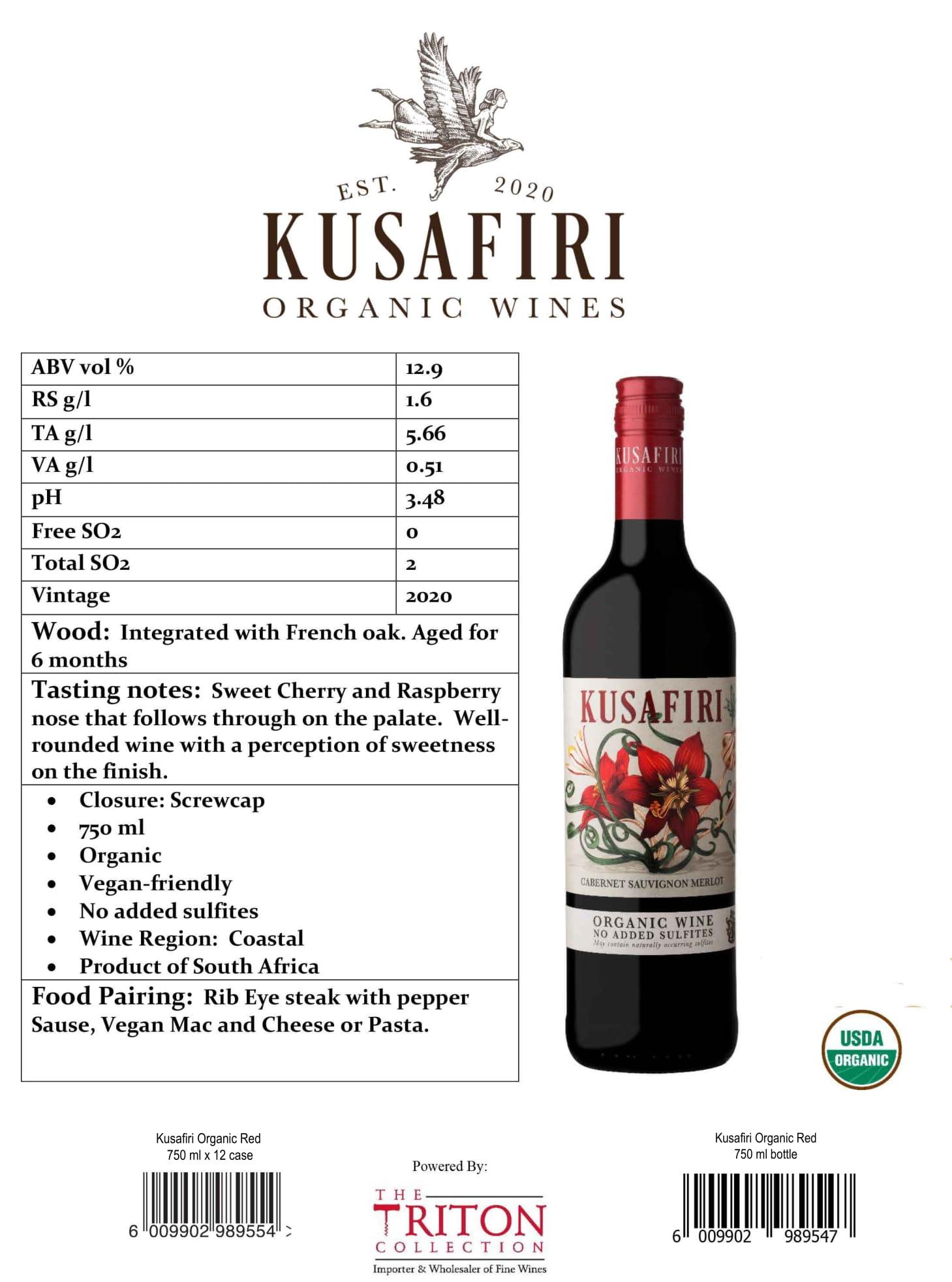 Kusafiri Organic Wines Tech Sheet