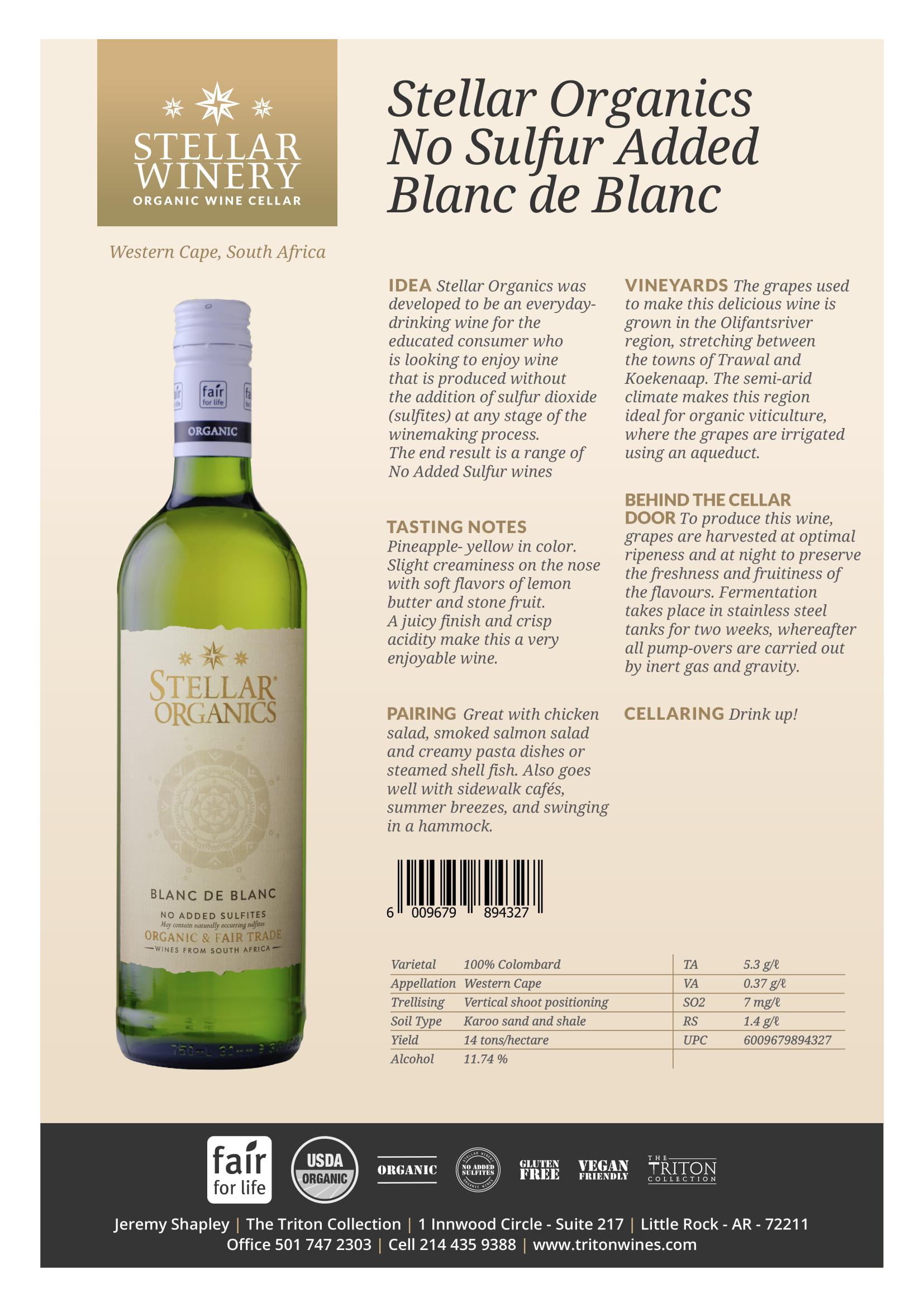 Stellar Organics Blanc be Blanc Tech Sheet