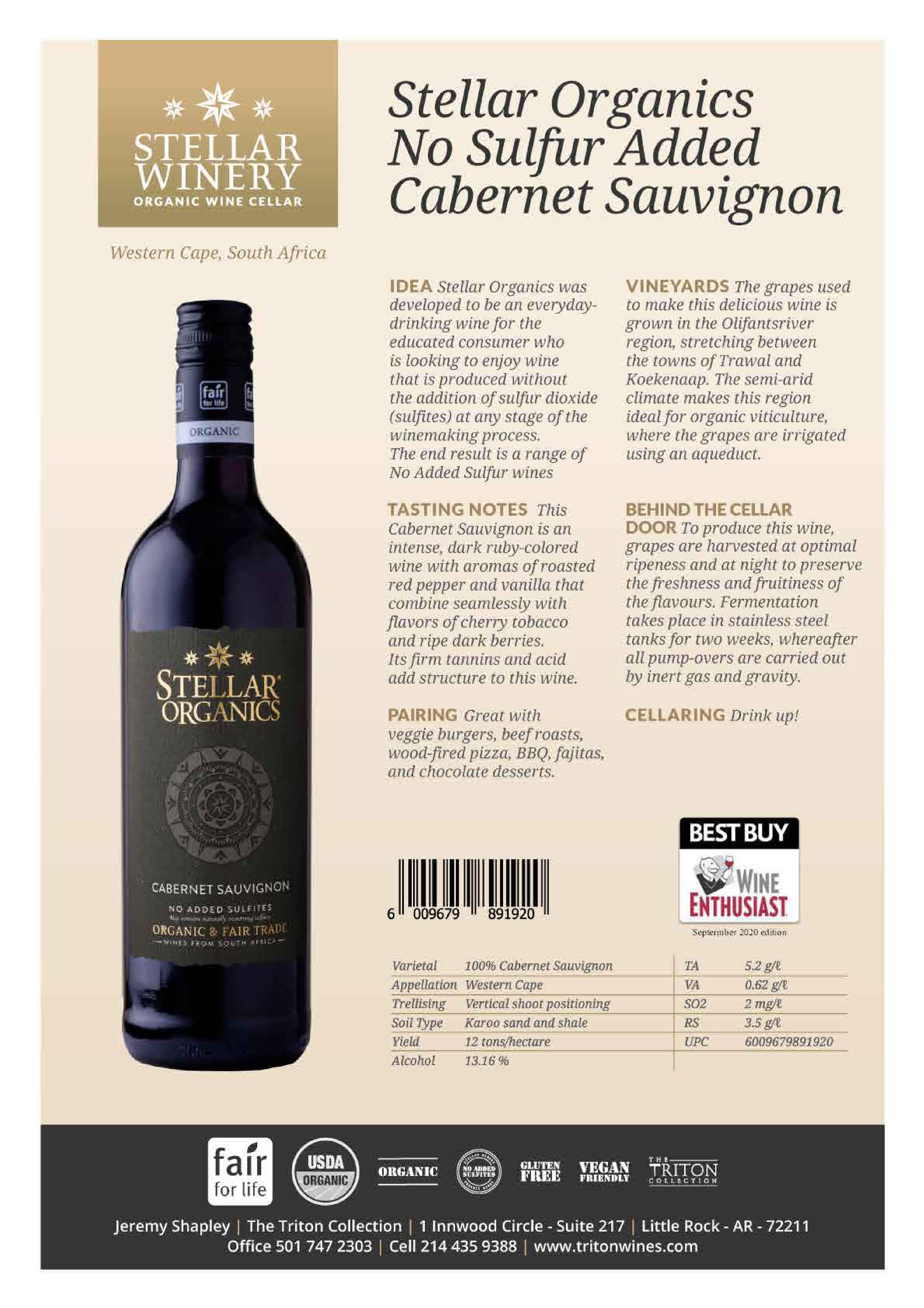 Stellar Organics Cabernet Sauvignon Tech Sheet