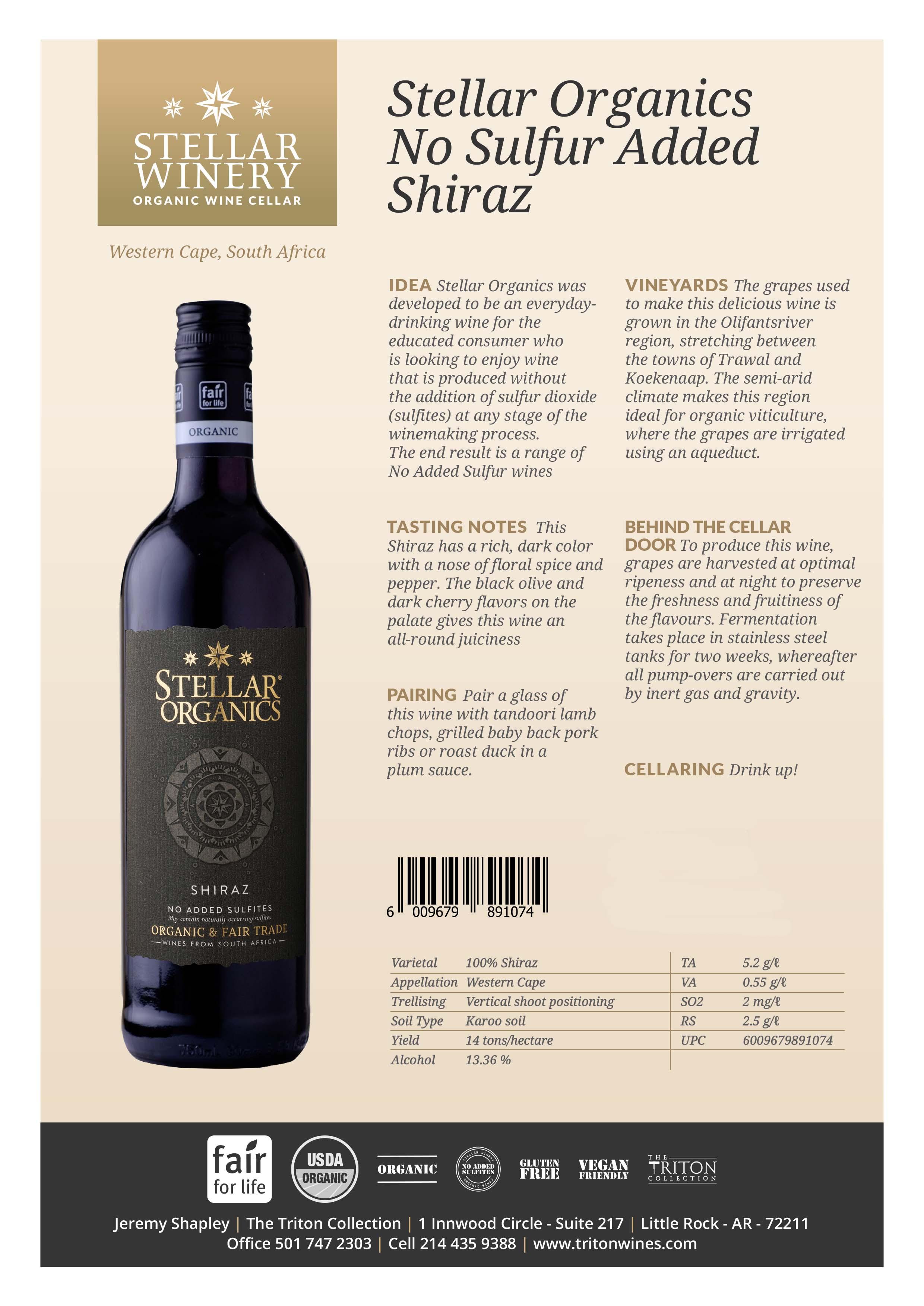 Stellar Organics Shiraz Tech Sheet