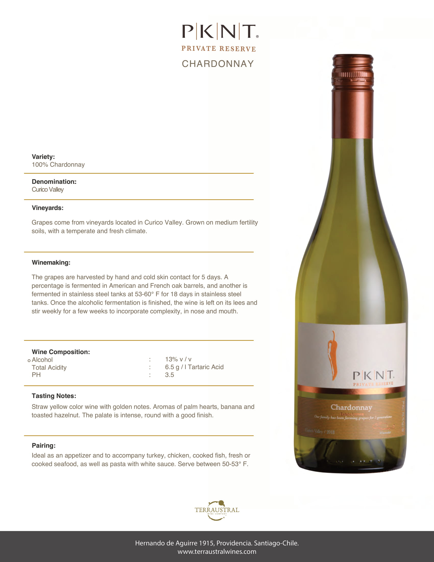 PKNT Chardonnay Reserve Tech Sheet