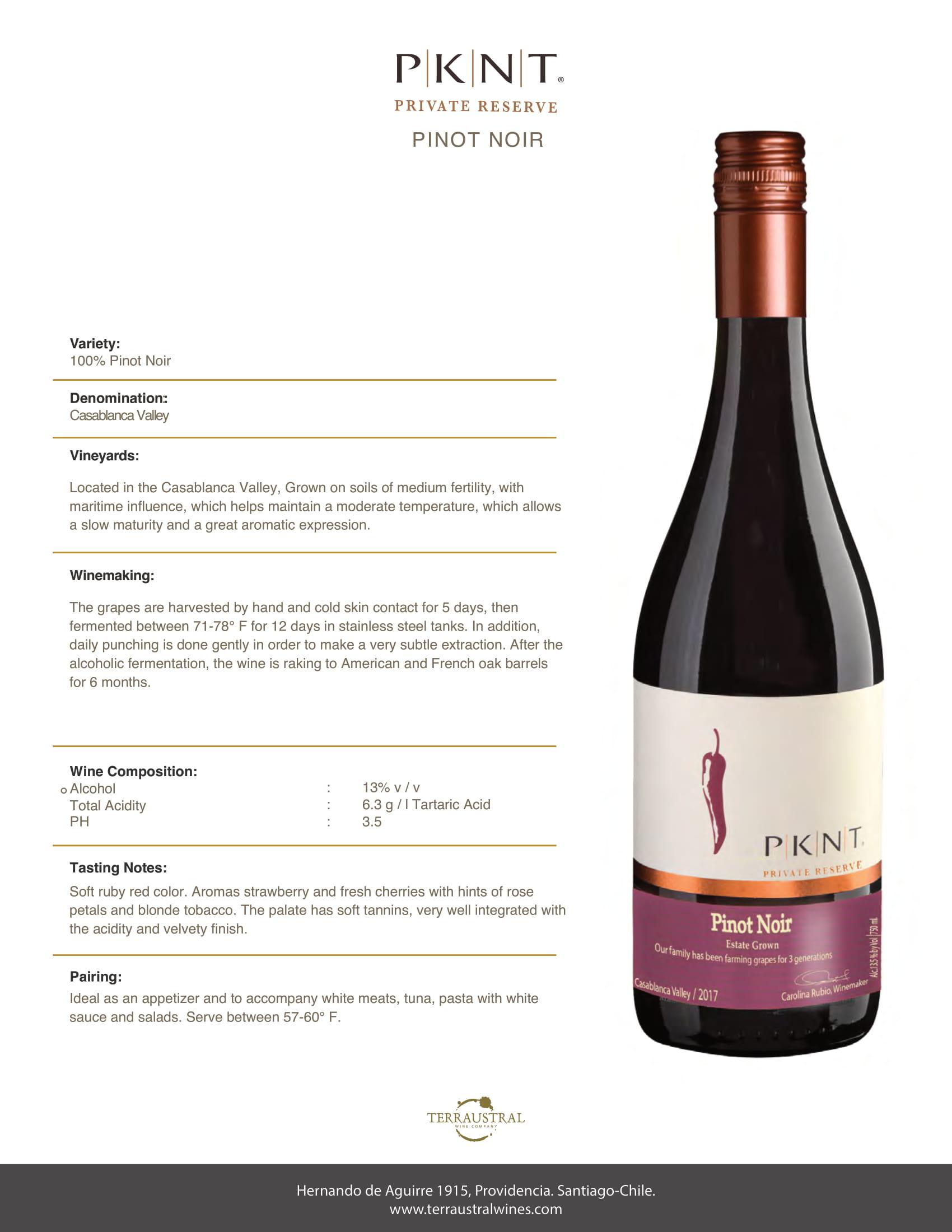 PKNT Pinot Noir Reserve Tech Sheet