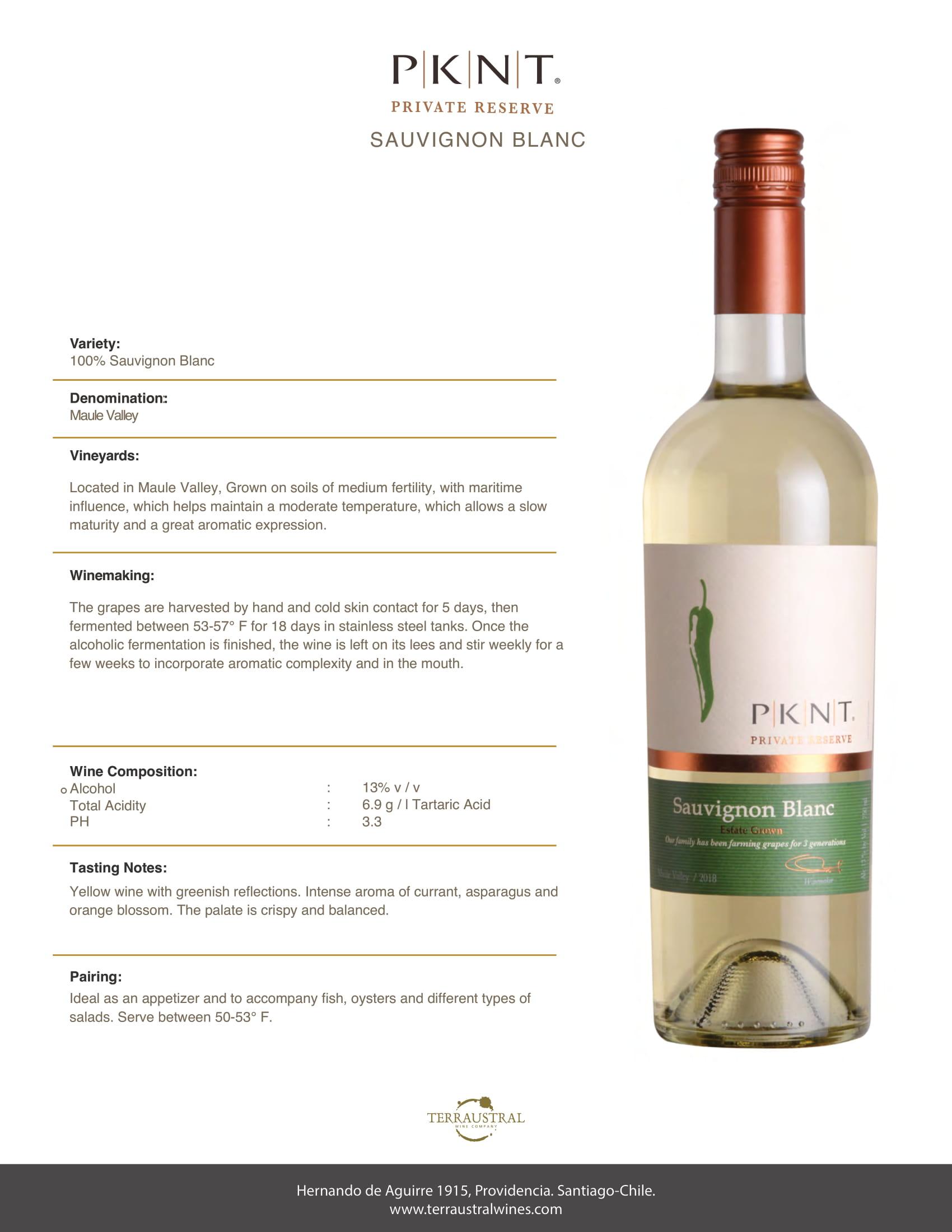 PKNT Sauvignon Blanc Tech Sheet