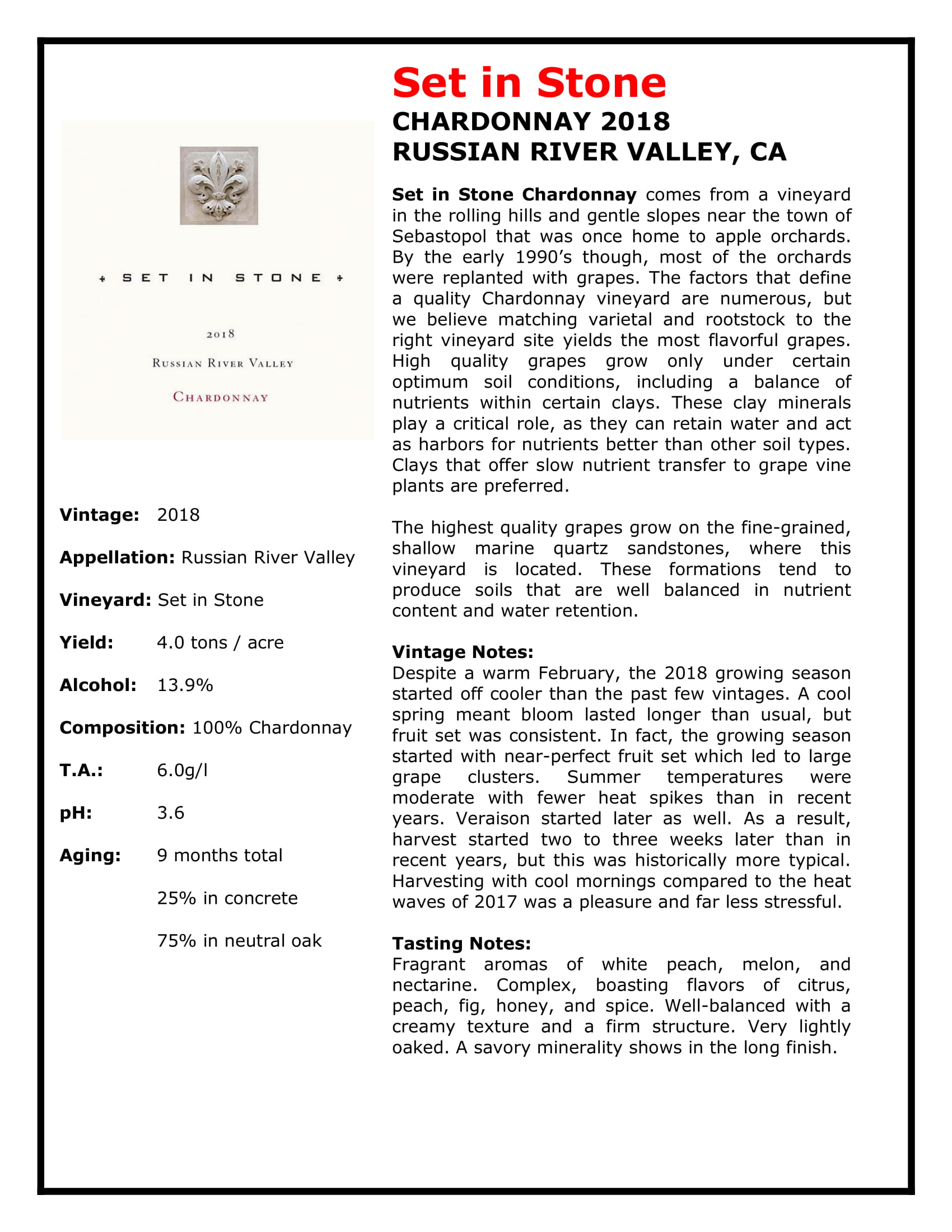 Set In Stone Chardonnay Tech Sheet