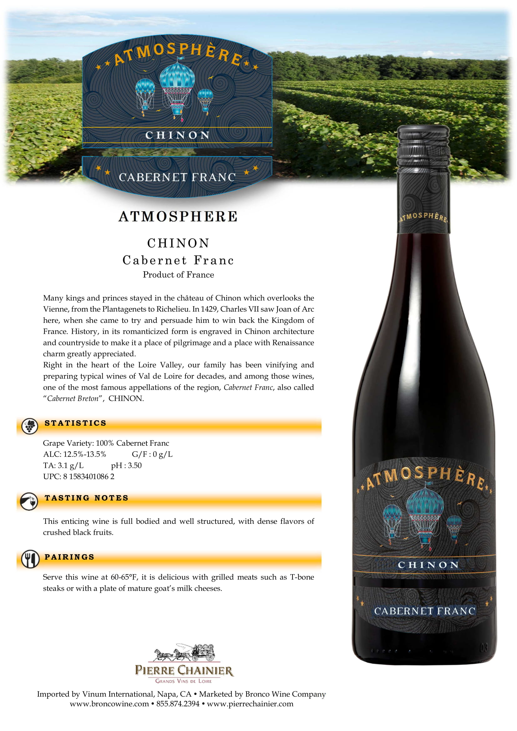Atmosphere Chinon Rouge Tech Sheet