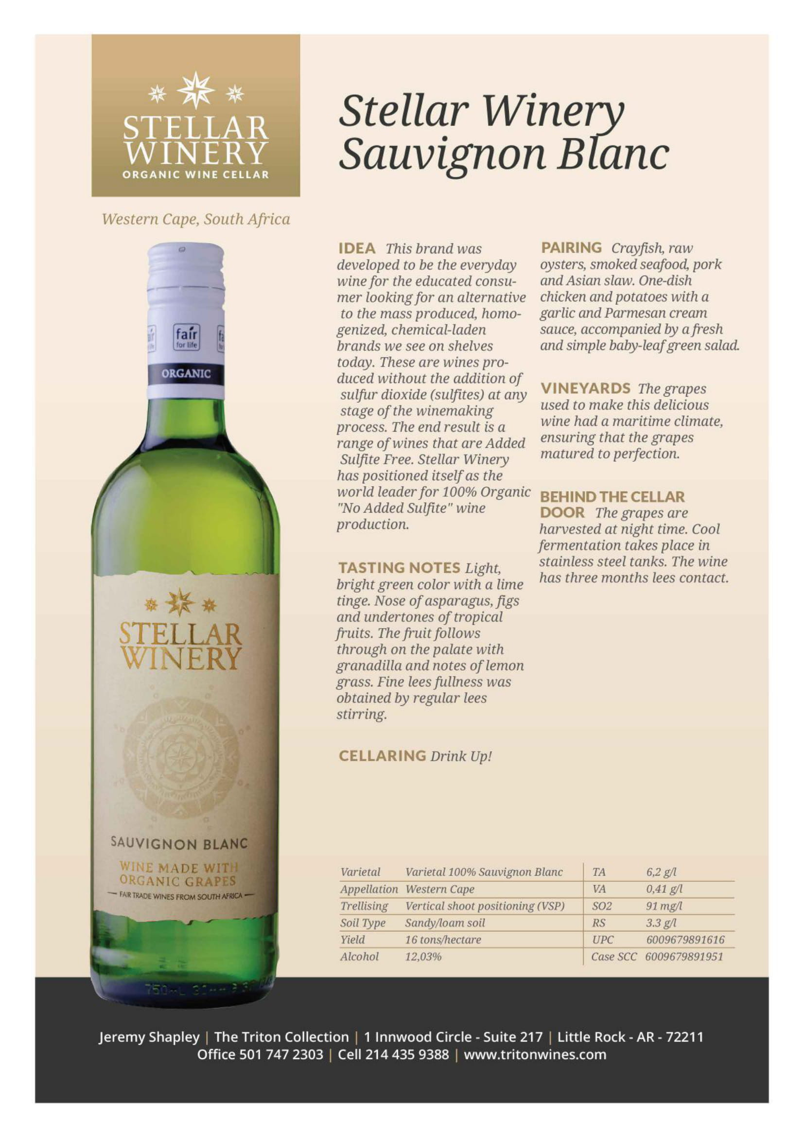 Stellar Organics Sauvignon Blanc Tech Sheet