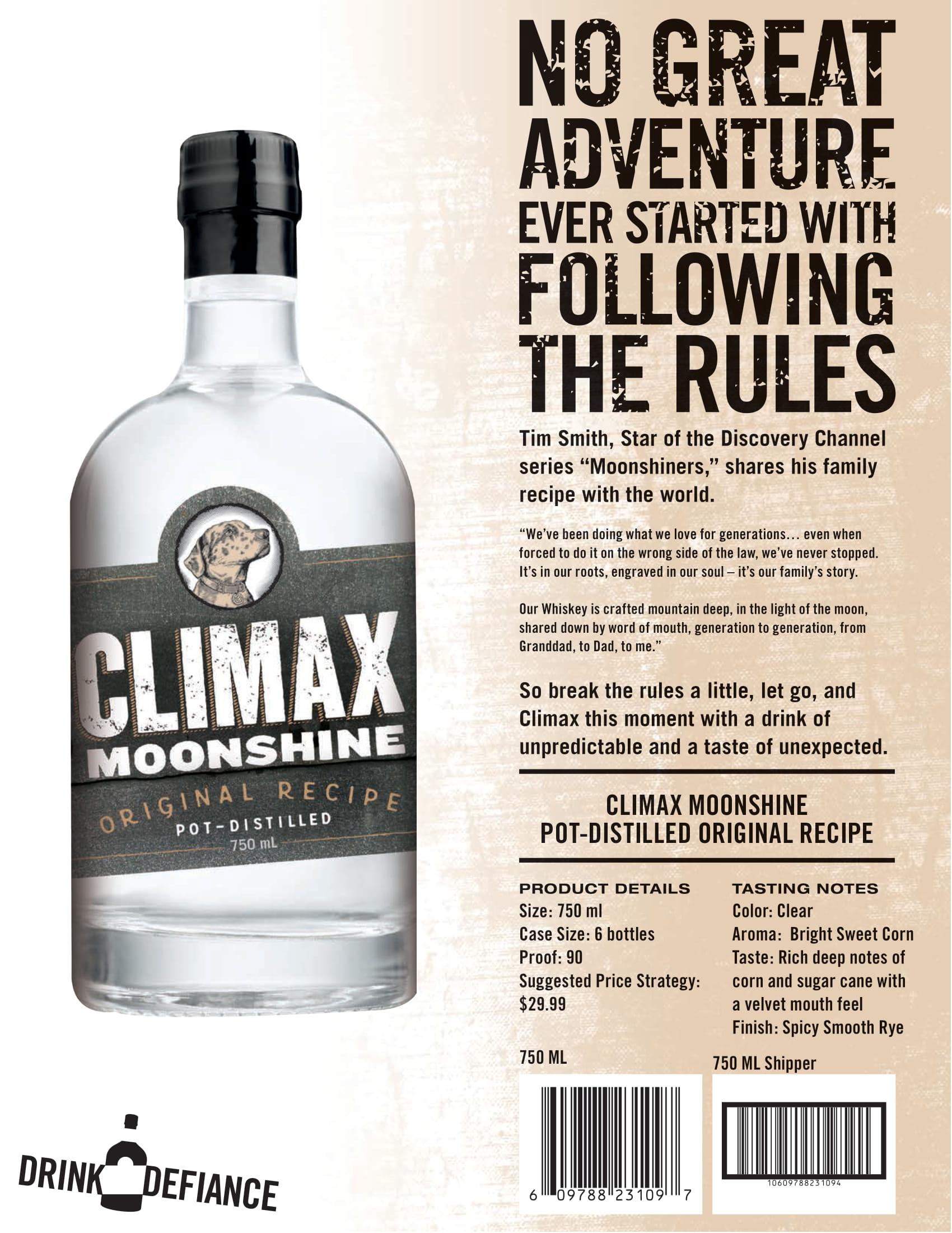 Climax Original Moonshine Tech Sheet