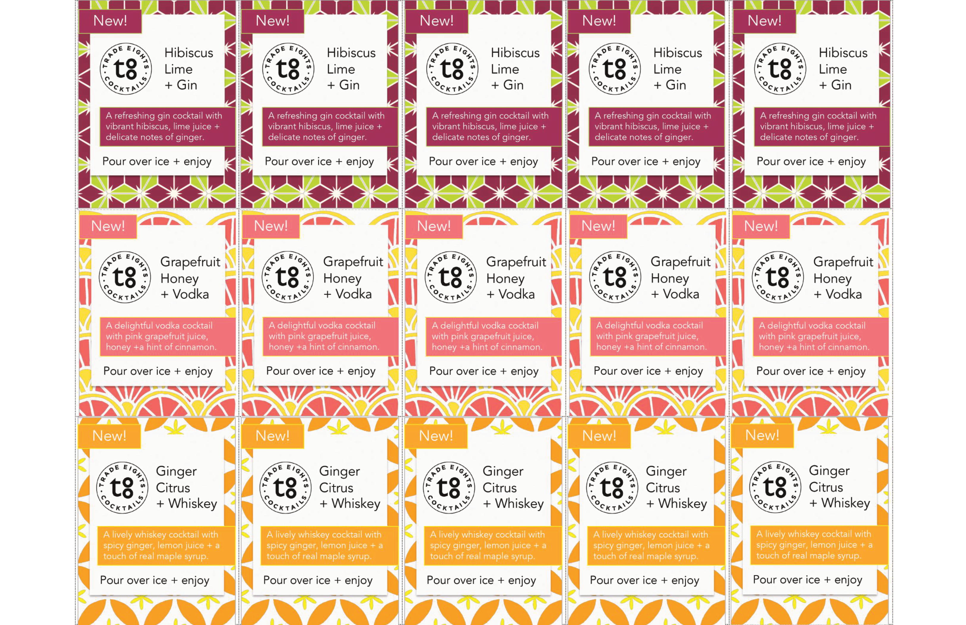 Trade Eights Cocktails Shelf Talkers