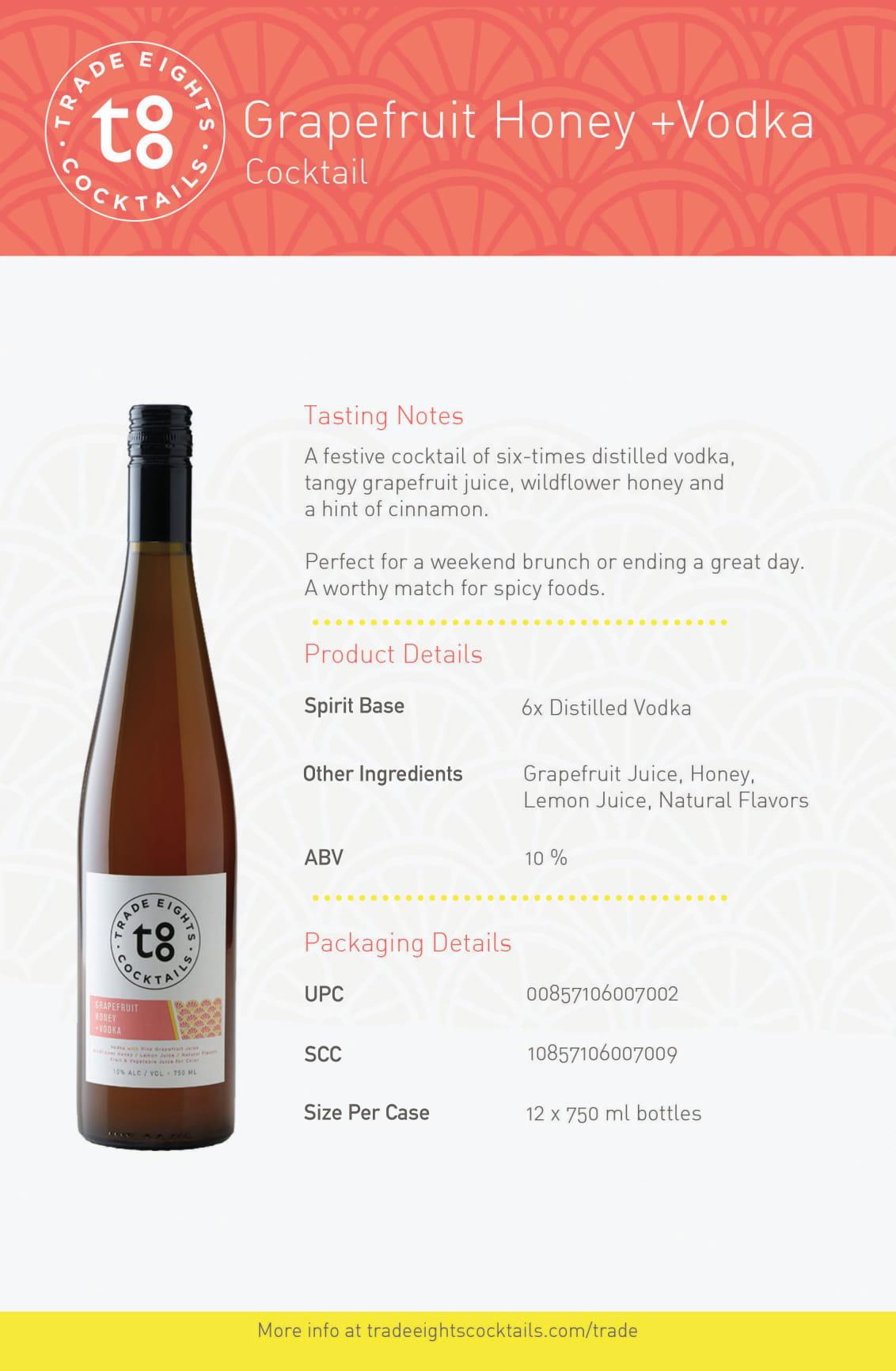 Trade Eights Grapefruit+Honey Vodka Tech Sheet