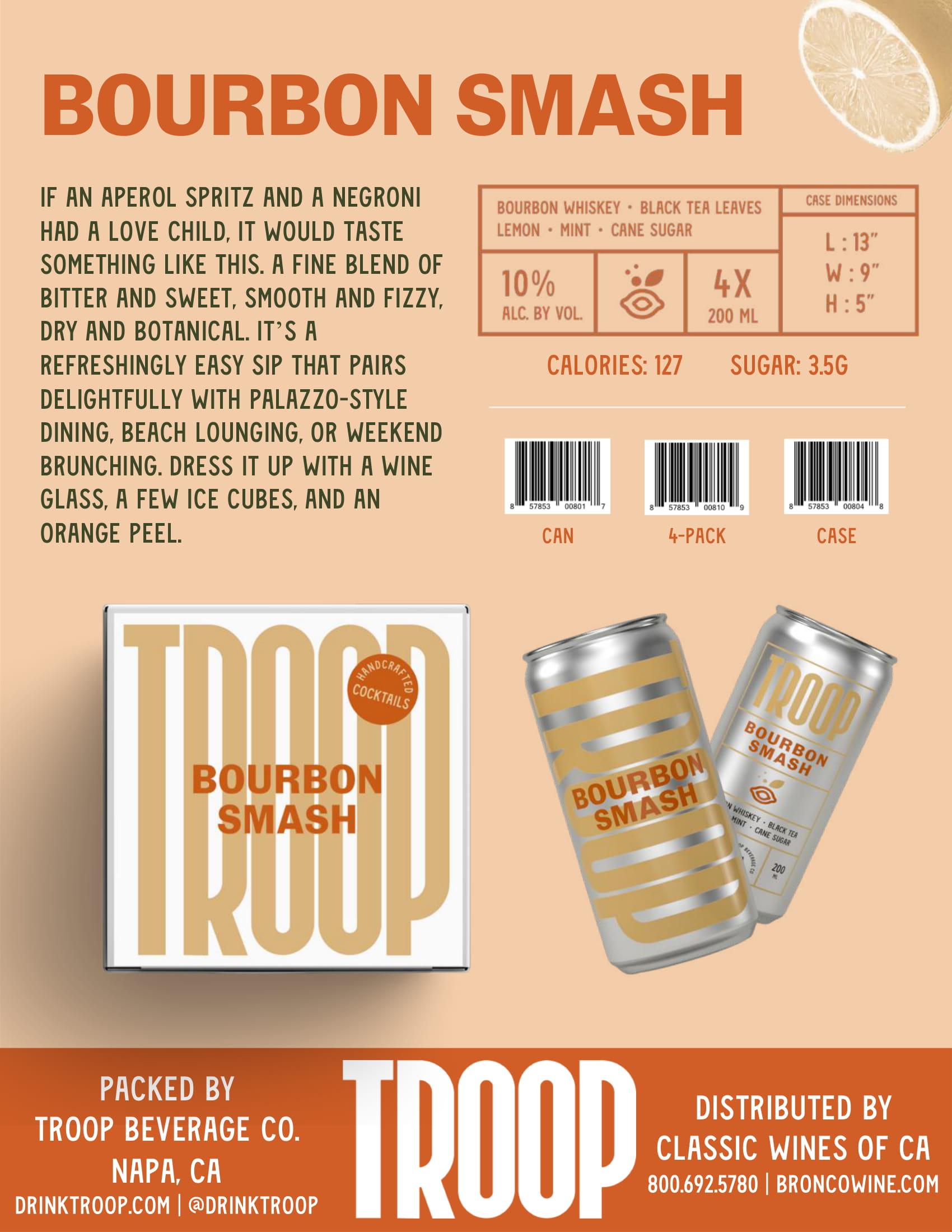 Troop Cocktails Bourbon Smash Tech Sheet