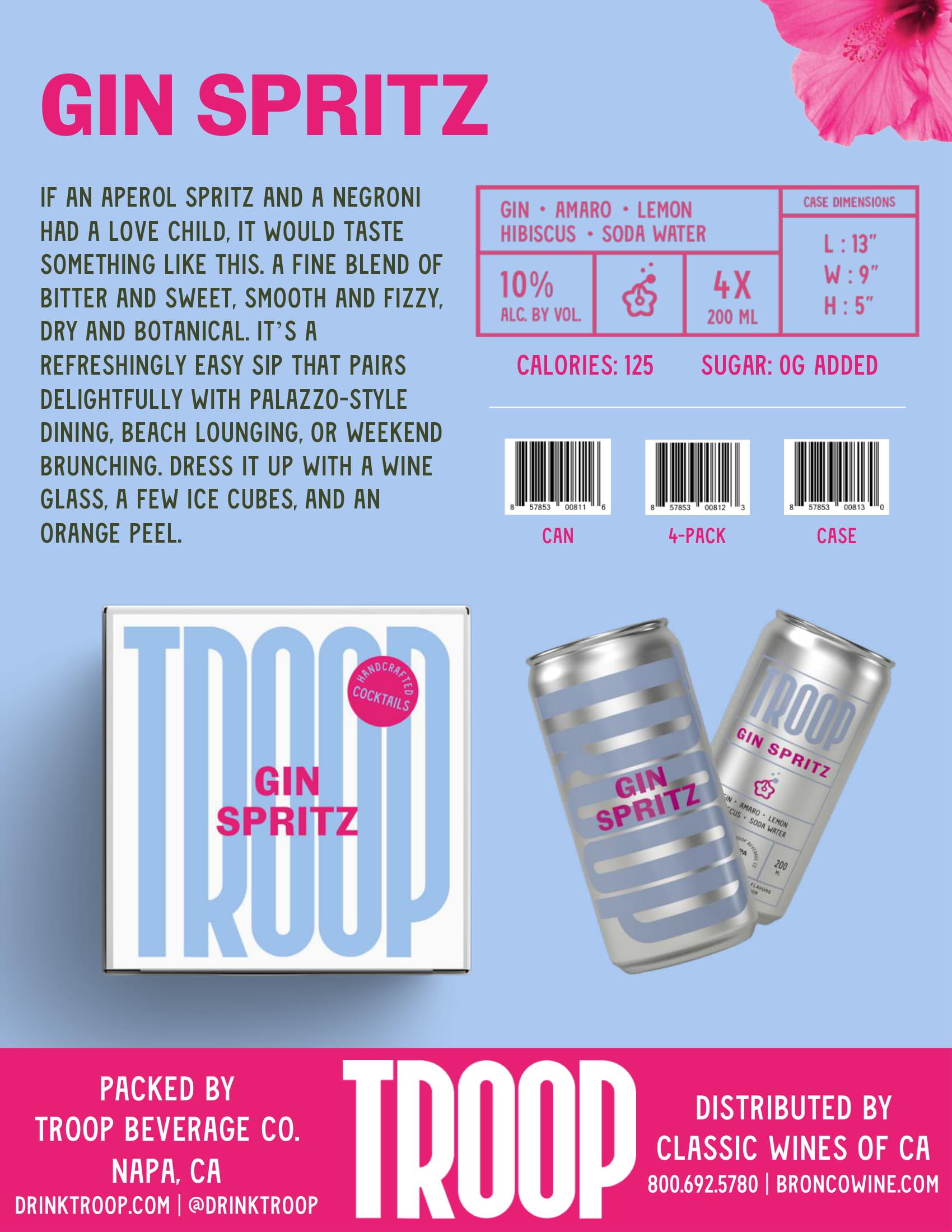 Troop Cocktails Gin Spritz Tech Sheet