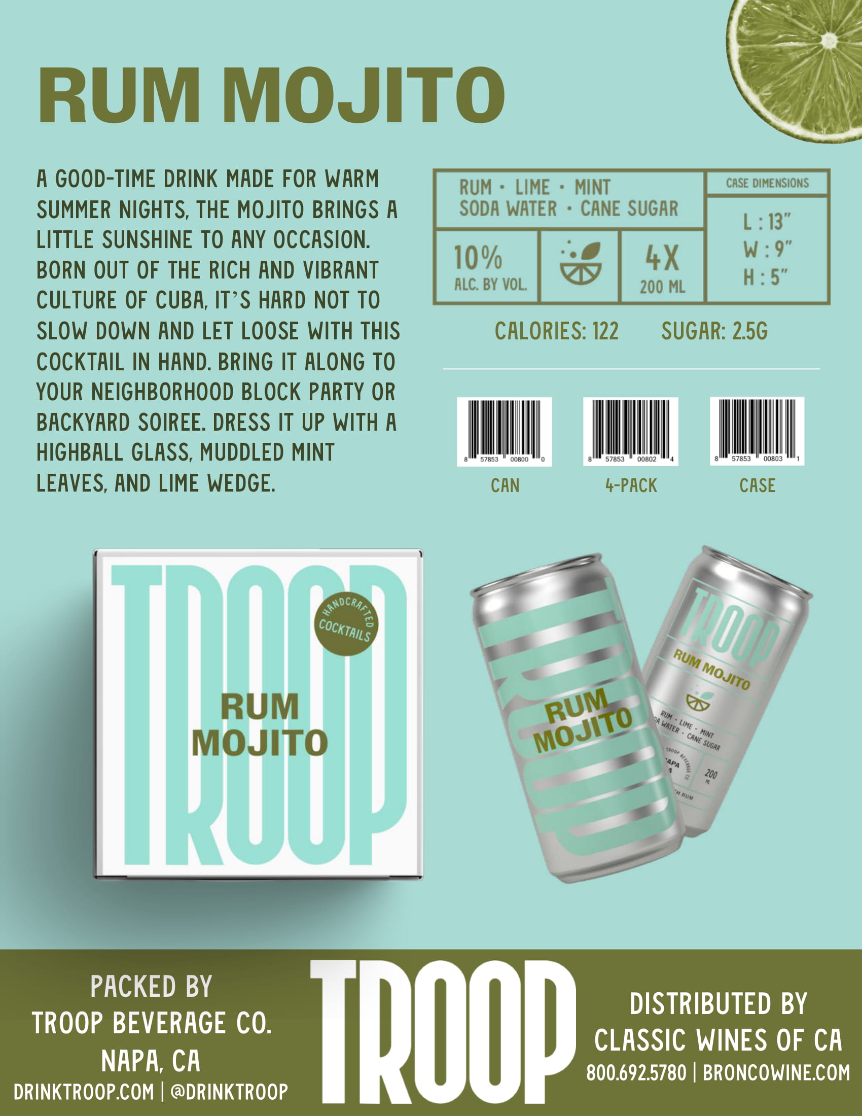 Troop Cocktails Rum Mojito Tech Sheet