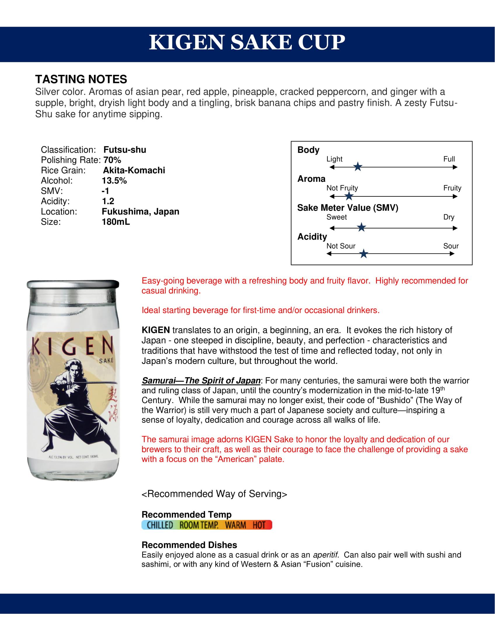 Kigen Sake Cup Tech Sheet