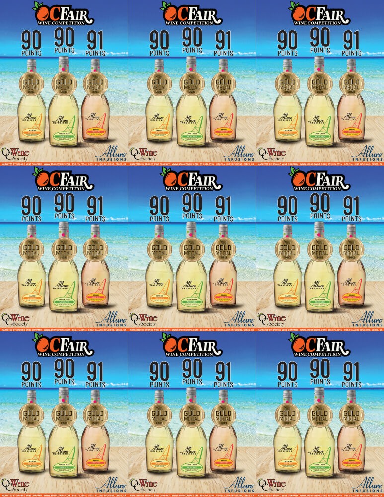 Allure Infusions Orange County Fair Wine Competition Accolade Shelf Talker