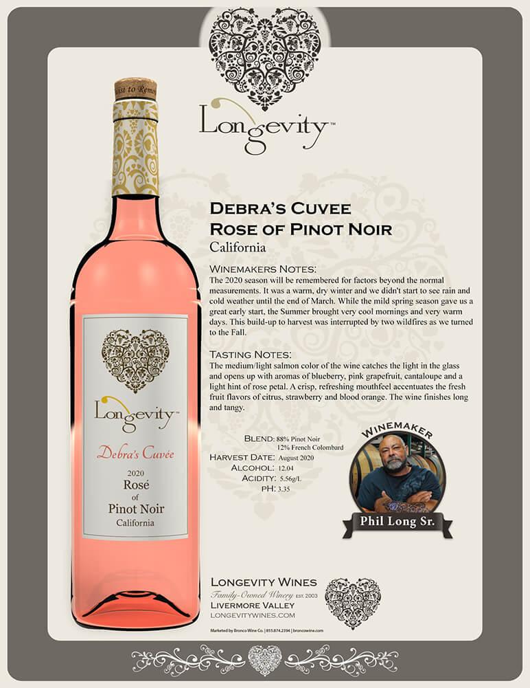Longevity Rosé of Pinot Noir Tech Sheet