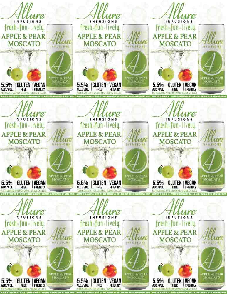 Allure Infusions Apple Pear Moscato Can Shelf Talkers