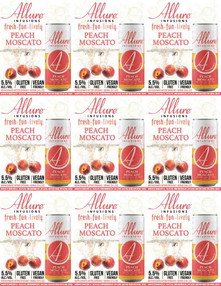 Allure Infusions Peach Moscato Can Shelf Talkers