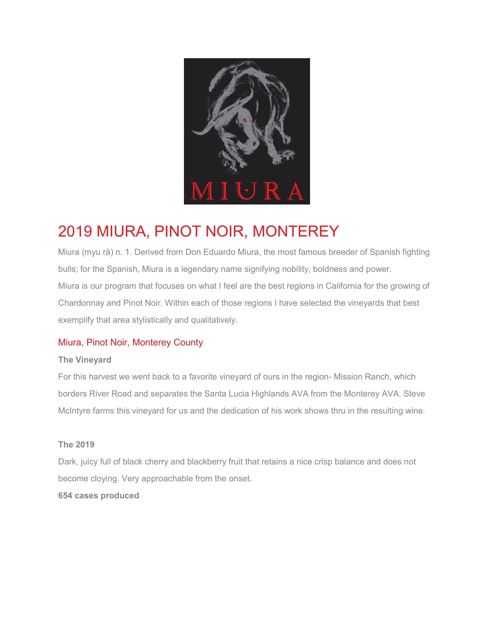 Miura Vineyards Monterey County Pinot Noir Tech Sheet