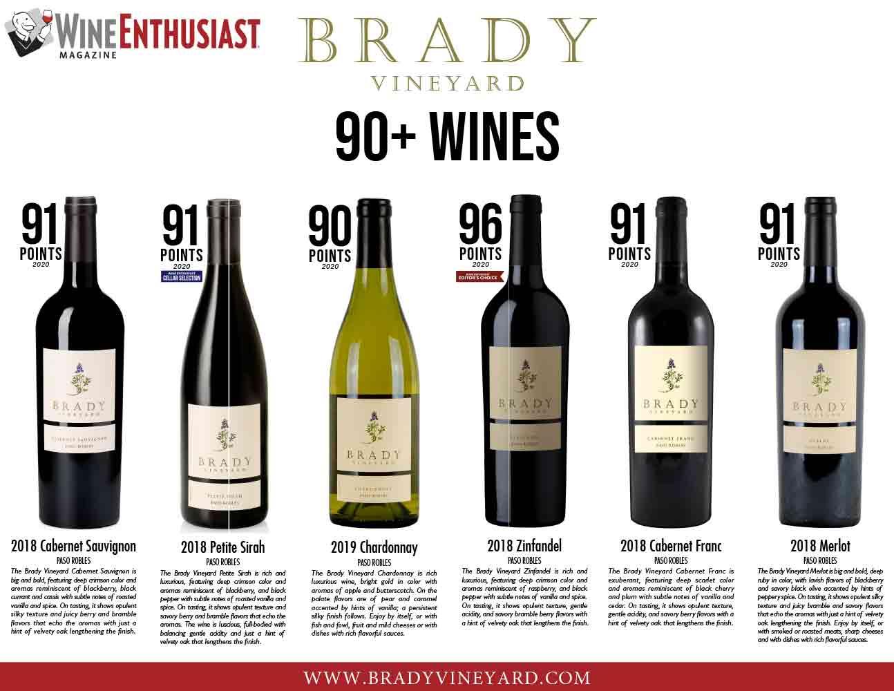 Brady Vineyards 90+ Wines Sell Sheet