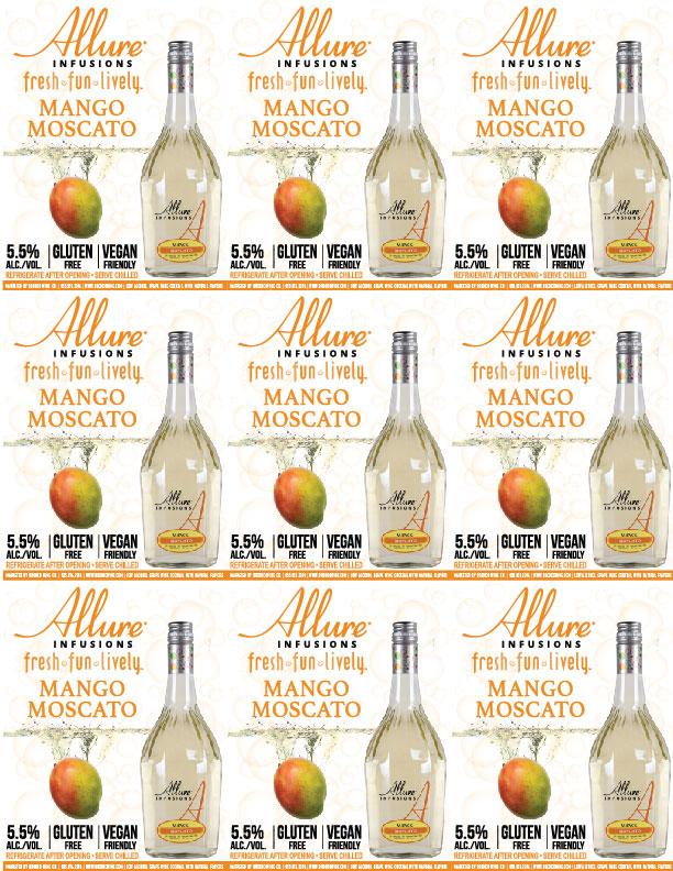 Allure Infusions Mango Moscato Shelf Talker