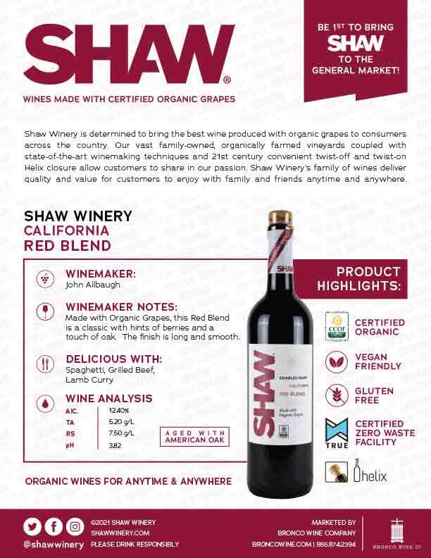 Shaw Organic Red Blend Tech Sheet