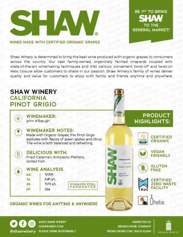 Shaw Organic Pinot Grigio Tech Sheet