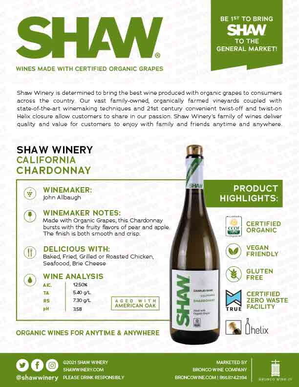 Shaw Organic Chardonnay Tech Sheet