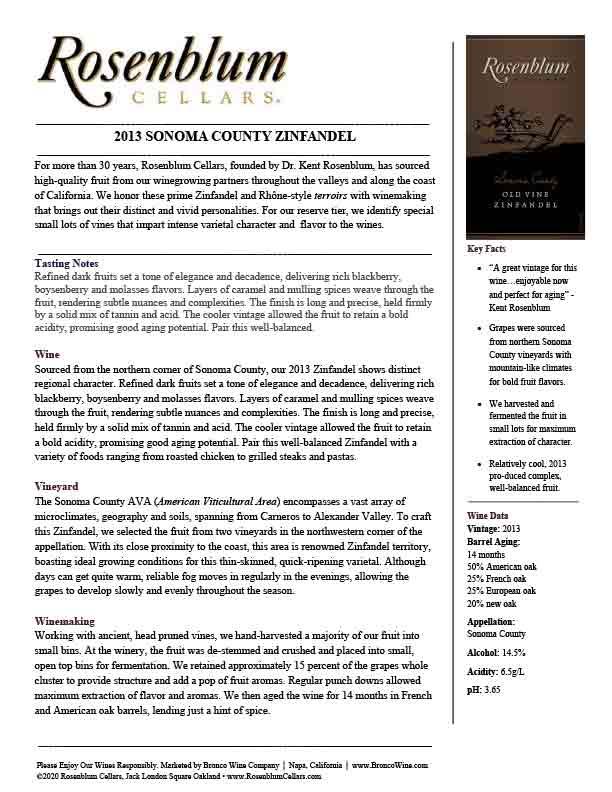 Rosenblum Cellars Zinfandel Sonoma County Tech Sheet