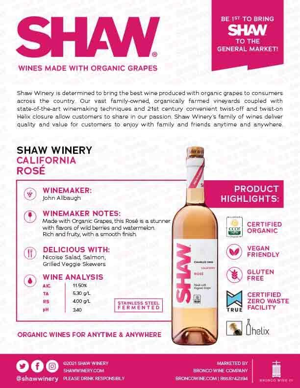 Shaw Organic Rosé Tech Sheet