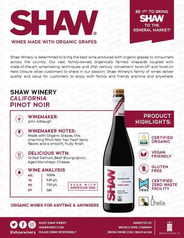 Shaw Organic Pinot Noir Tech Sheet