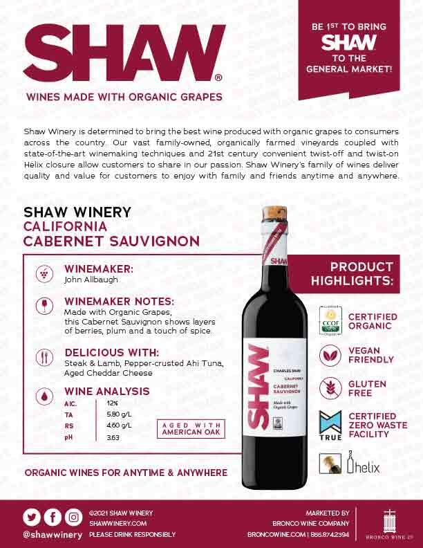 Shaw Organic Cabernet Sauvignon Tech Sheet