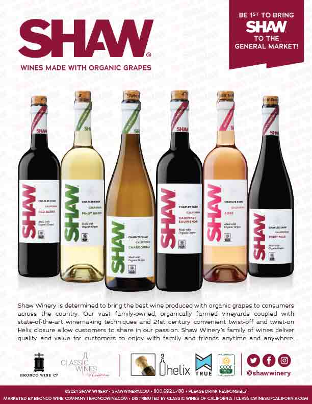 Shaw Organic Flyer for Classic Wines of CA
