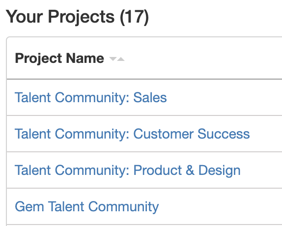 Talent Community Project Types