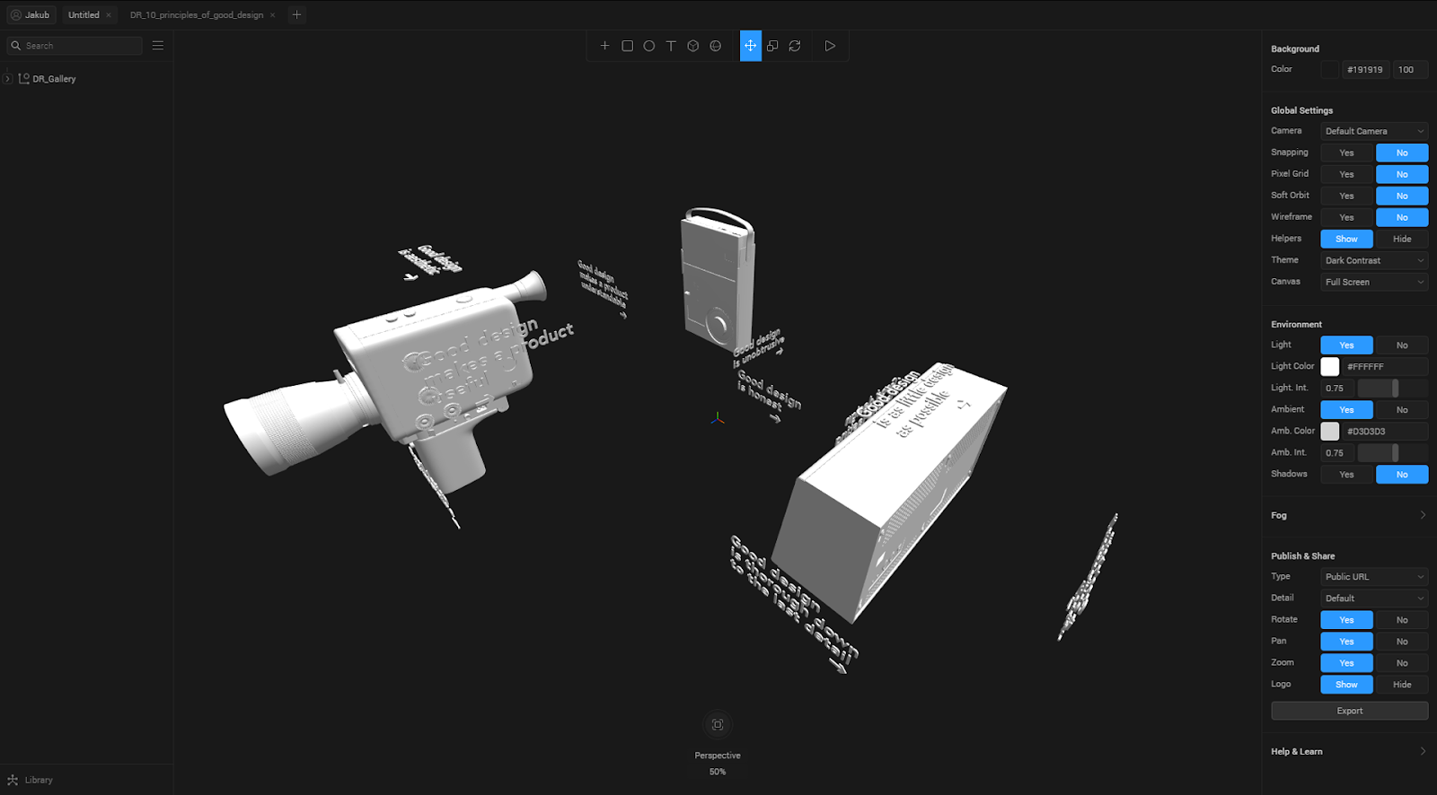 Spline interaction tutorial - perspective camera view