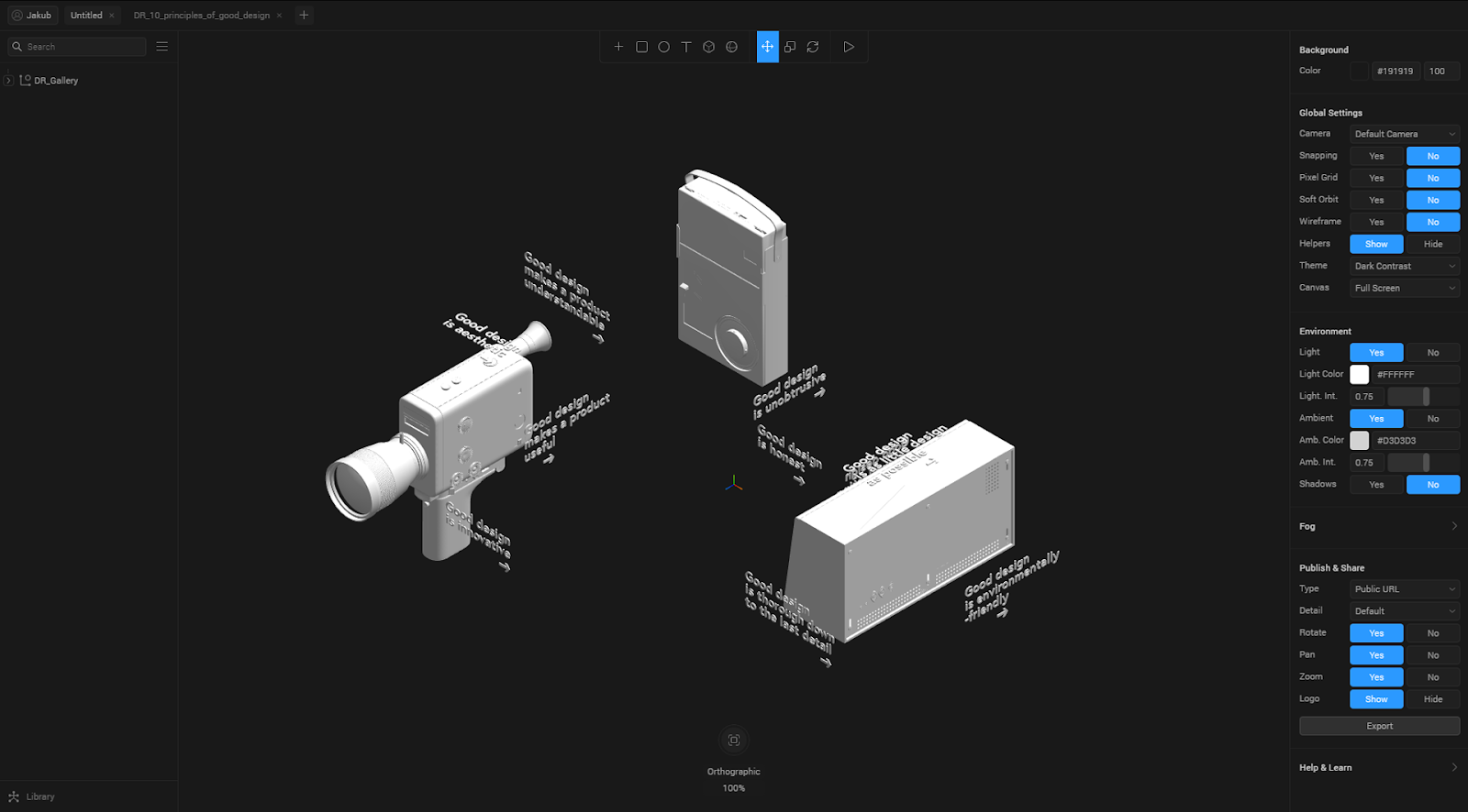 Spline interaction tutorial - ortographic camera view