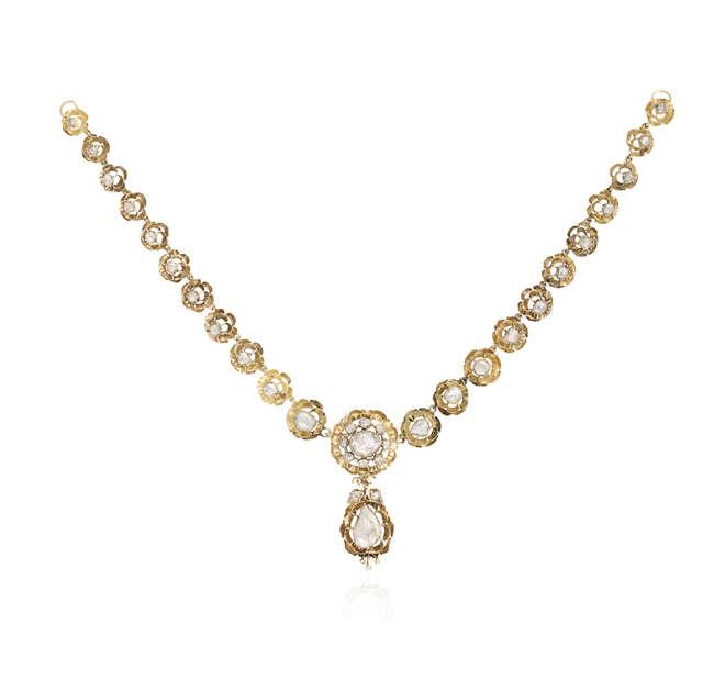 A LATE 18TH/EARLY 19TH CENTURY DIAMOND NECKLACE, IBERIAN ORIGIN