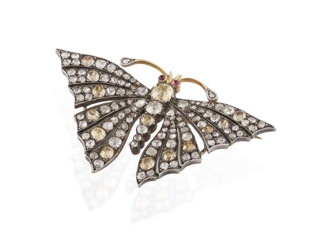 A LATE 19TH CENTURY DIAMOND AND COLOURED DIAMOND BUTTERFLY BROOCH, CIRCA 1880