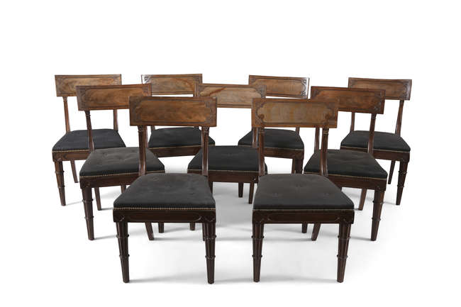 A SET OF EIGHTEEN GEORGE IV MAHOGANY DINING CHAIRS, in the gothic taste