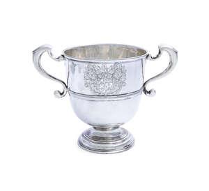 AN IRISH GEORGE I SILVER TWO HANDLED LOVING CUP, Dublin c.1723, mark of Thomas Walker