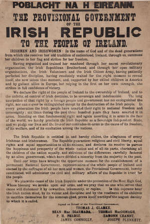 THE PROCLAMATION OF INDEPENDENCE OF THE IRISH REPUBLIC SIGNED BY the PRINTER, CHRISTOPHER BRADY