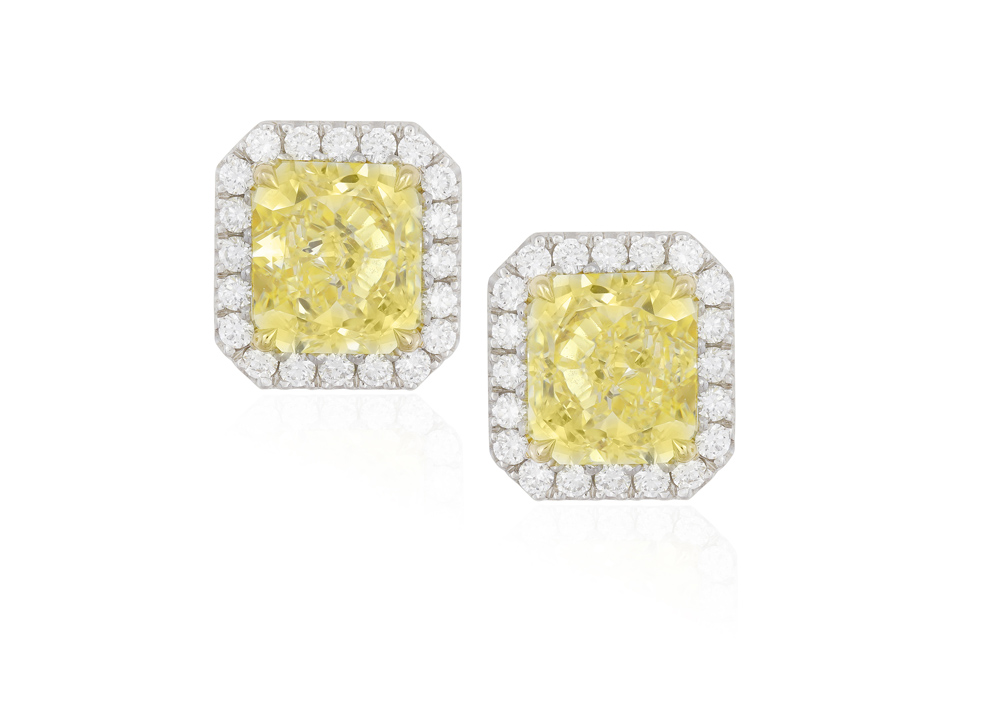 A PAIR OF COLOURED DIAMOND AND DIAMOND EARSTUDS