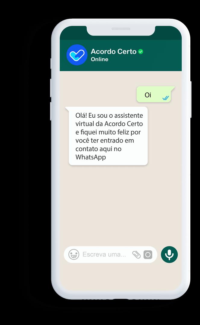 Celular com WhatsApp da Acordo Certo