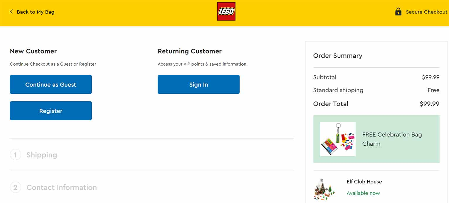 For instance, LEGO gives new customers the option to either register for a new account or checkout as guests.