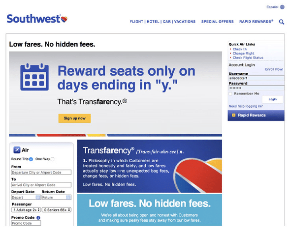 Southwest Airlines promoted straightforward pricing and no hidden fees.