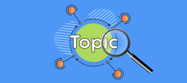 A magnifying glass over an SEO-optimized pillar page surrounded by related sub-topics.
